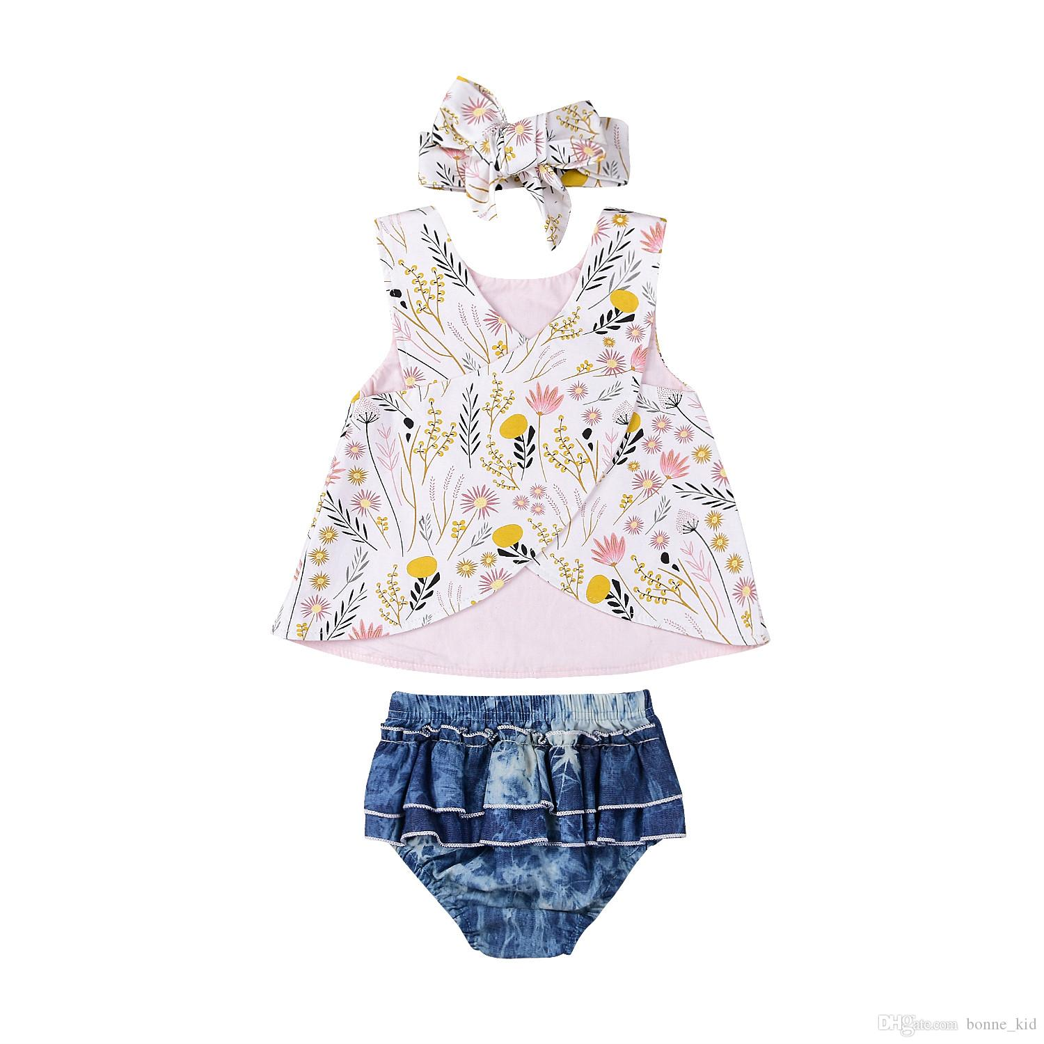 Summer Newborn Baby Girls Outfit Clothes Floral Print Tops Shorts Headband 3pcs Cute Ruffles Kids Clothes Set Toddler 0-3Y