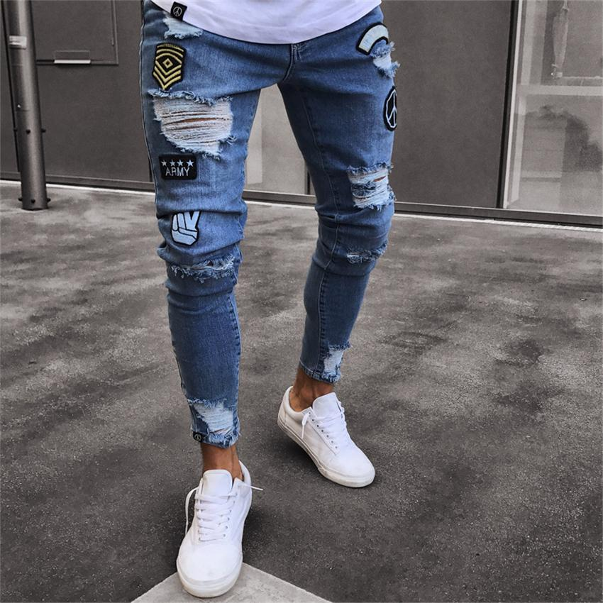 2018 남성 세련된 찢어진 청바지 바지 바이커 스키니 슬림 스트레이트 마모 된 데님 바지 새로운 패션 마른 청바지 남성 Streetwear