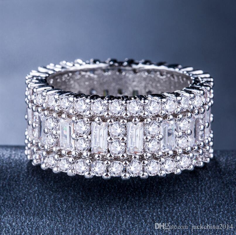 Victoria Wieck Nova Chegada de Luxo Jóias Círculo Anéis de Prata Esterlina 925 Princesa Topázio CZ Diamante Eternidade Wedding Band Anel para As Mulheres