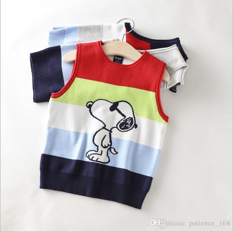 garçons tricot chandail gilet INS 3 couleur 2018 Europe et Amérique style nouvelle arrivée Autum bébé garçons épissure couleur coton chiot pull gilet