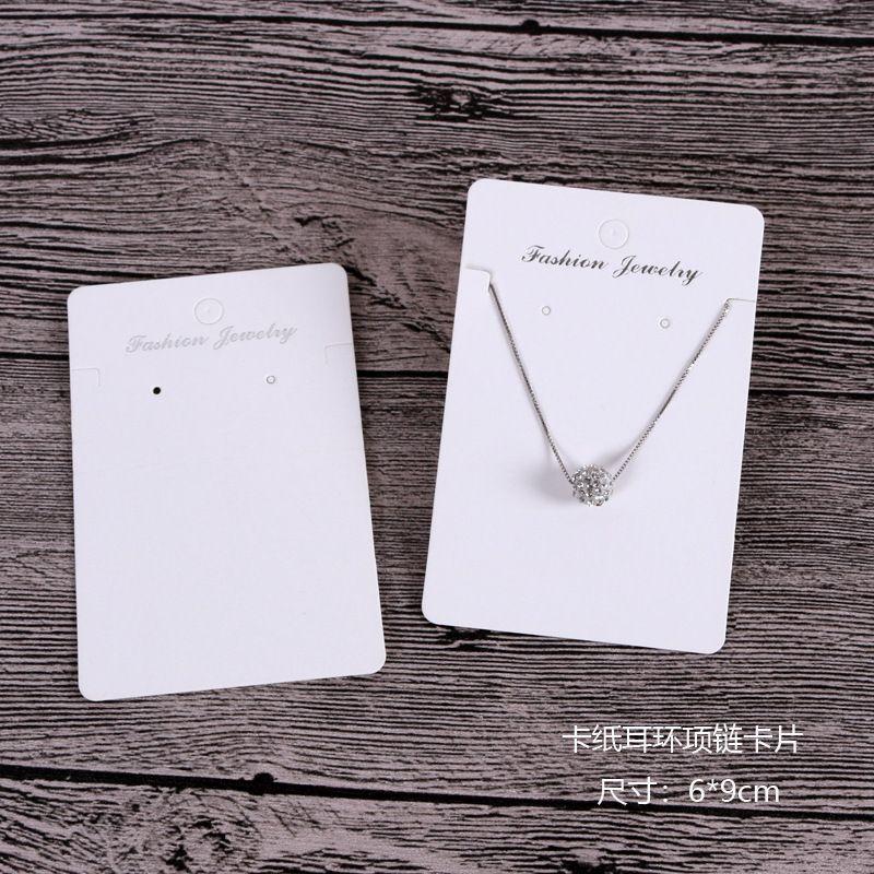 منتج جديد 6 * 9 سنتيمتر / 6 * 8.5 سنتيمتر أبيض اللون حلق / قلادة بطاقة مخزون كبير يعرض بطاقات التعبئة hangtag يمكن شعار مخصصة