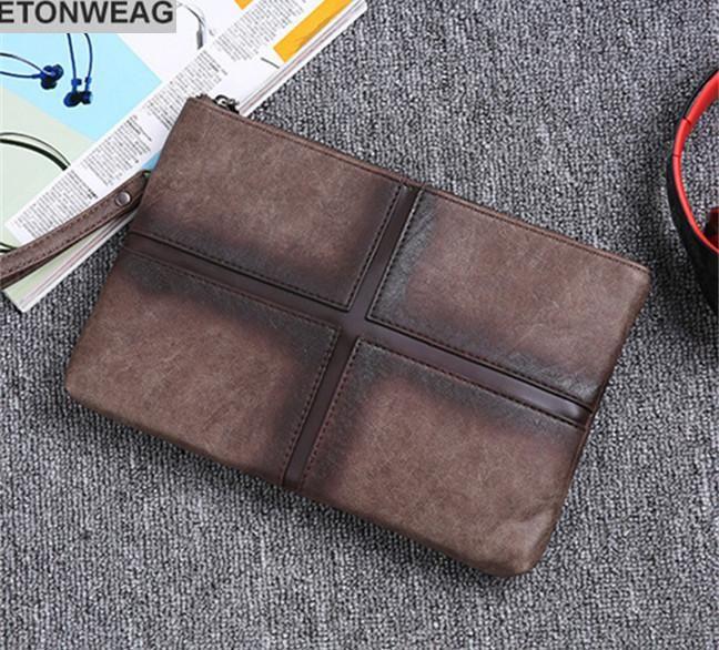 Factory brand men bag antique horse leather handbag street racket personality grid wrist file package fashion lattice leather shoulder bag