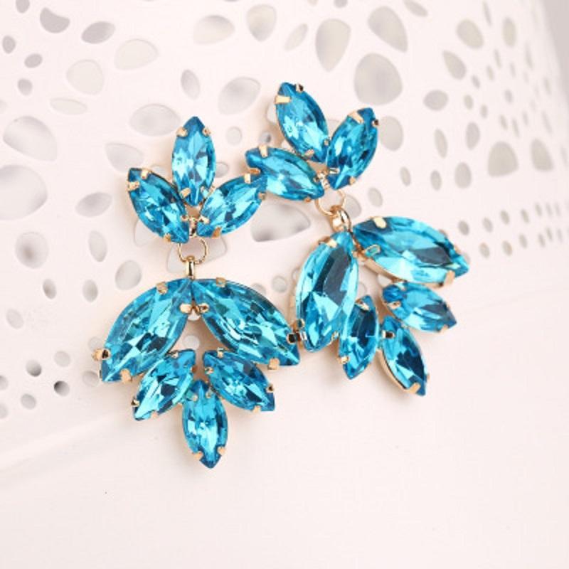 Синий Кристалл цветок падение серьги Женщины Personality Ночной клуб мотаться серьги Женщины Jewelry Free