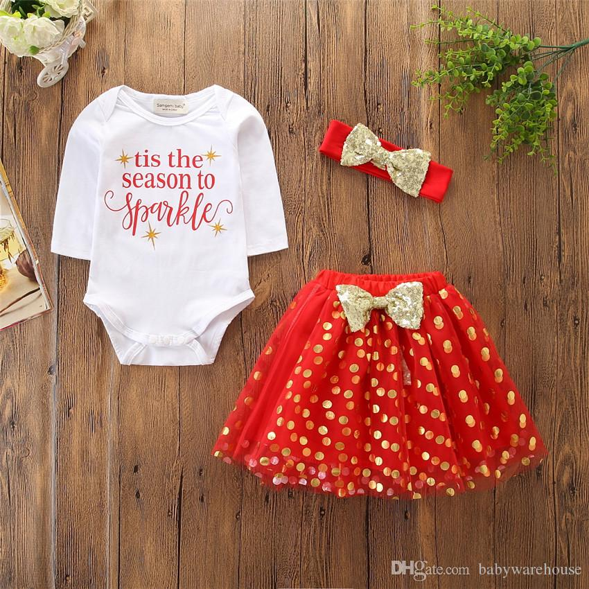 Christmas Baby Clothes Girls Clothing Long Sleeve Romper Sequins Dot Skirt Dress Headband 3PCS Kids Suit Toddler Girls Clothes Set Outfits