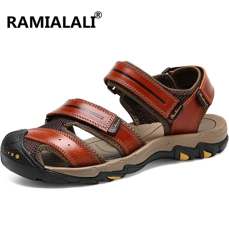 Ramialali جديد أزياء الصيف الصنادل الأحذية بقرة جلد طبيعي الرجال الصنادل اليدوية رجل عارضة أحذية جلدية الشاطئ