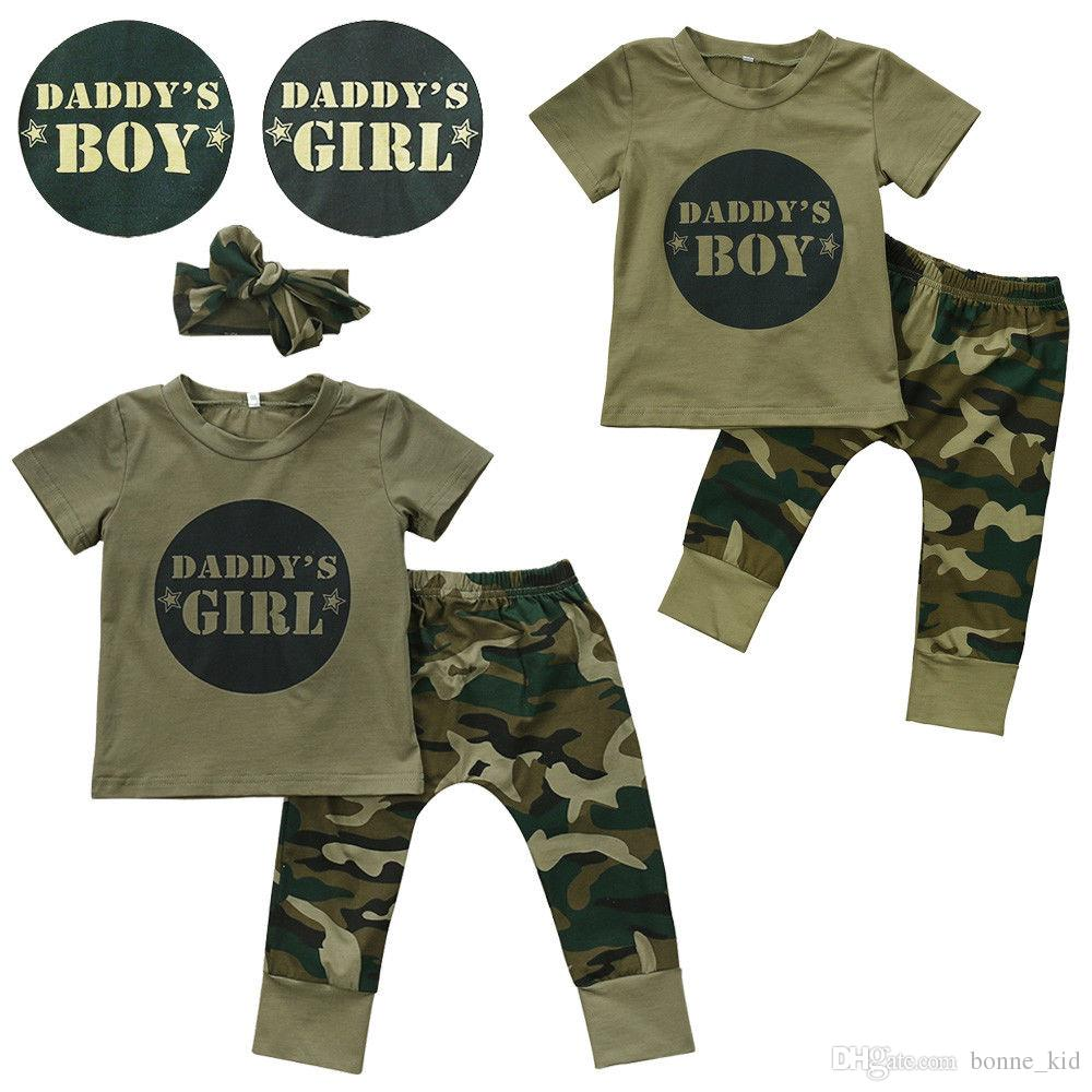 Newborn Baby Boy Girls Outfits T-shirt Camouflage Pants Headband 2018 Daddy's Boys Girl Kids Clothes Wholesale Boutique Baby Clothing