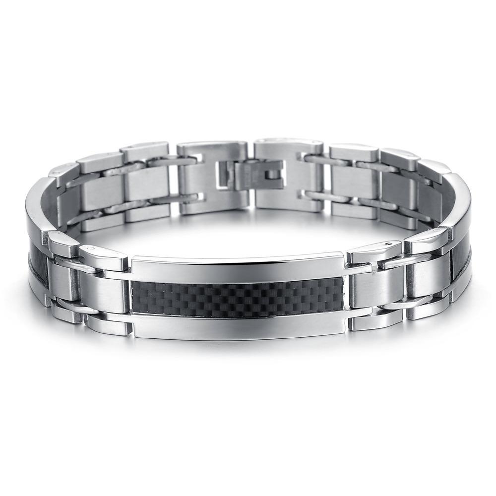 Alta calidad clásica fresca super hombres brazalete de acero inoxidable de moda Enlace cadena ajustable GS741 brazalete personalidad de la joyería