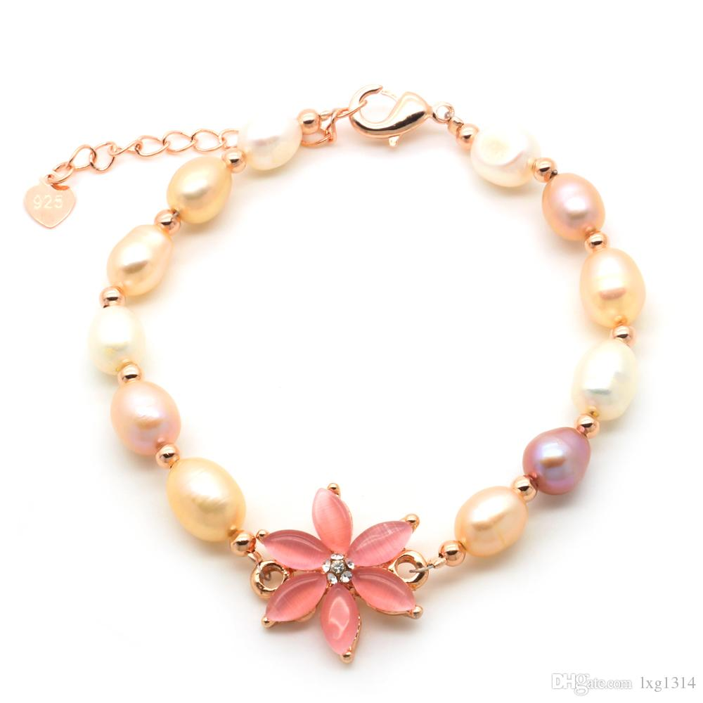 Natural Freshwater Cultured Pearl Bracelet White Shell Flower Pearl Bracelets