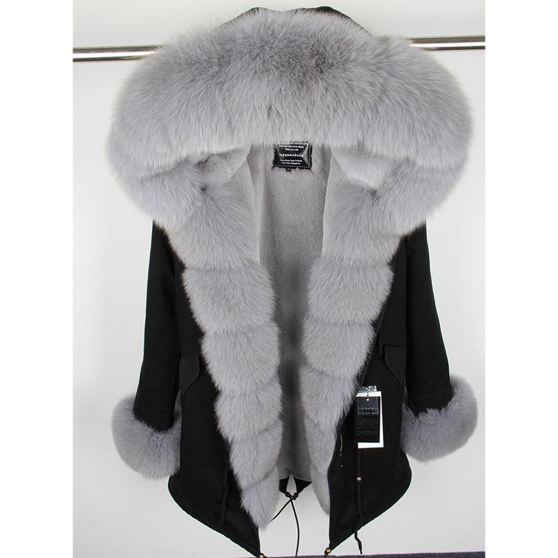 2018 Winter Jacket Women Coat Parka Real Zorro Cuello de Piel Campana Gruesa Cálida Desmontable Liner Prendas de abrigo Casual Corto Patkas Largo Nuevo