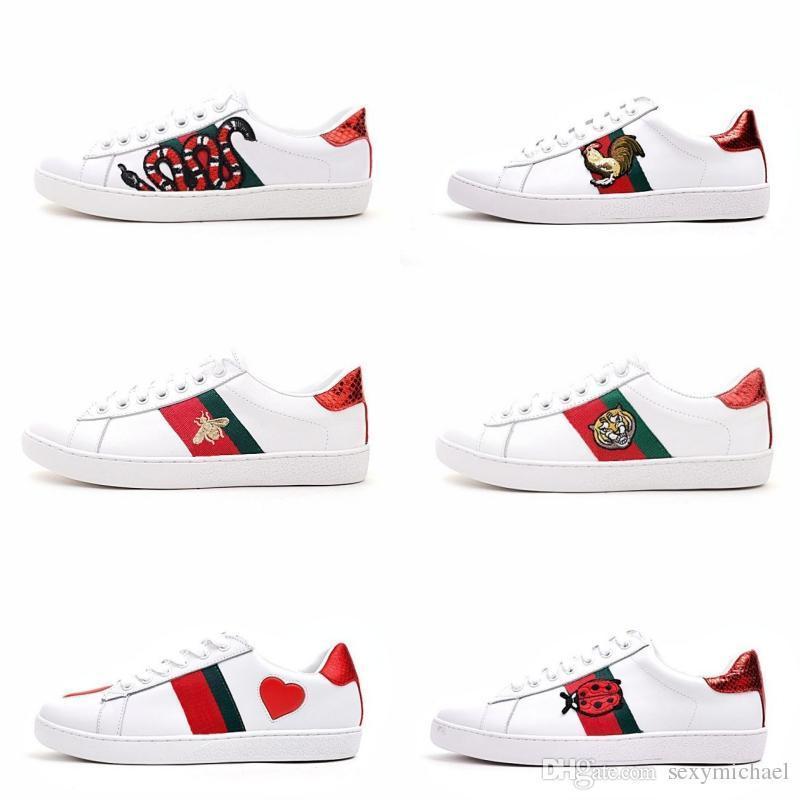 Zapatos de diseñador de lujo para hombres Zapatos casuales zapatillas de mujer blanca buena bordado abeja polla fruta de perro tigre en el lado con caja OG