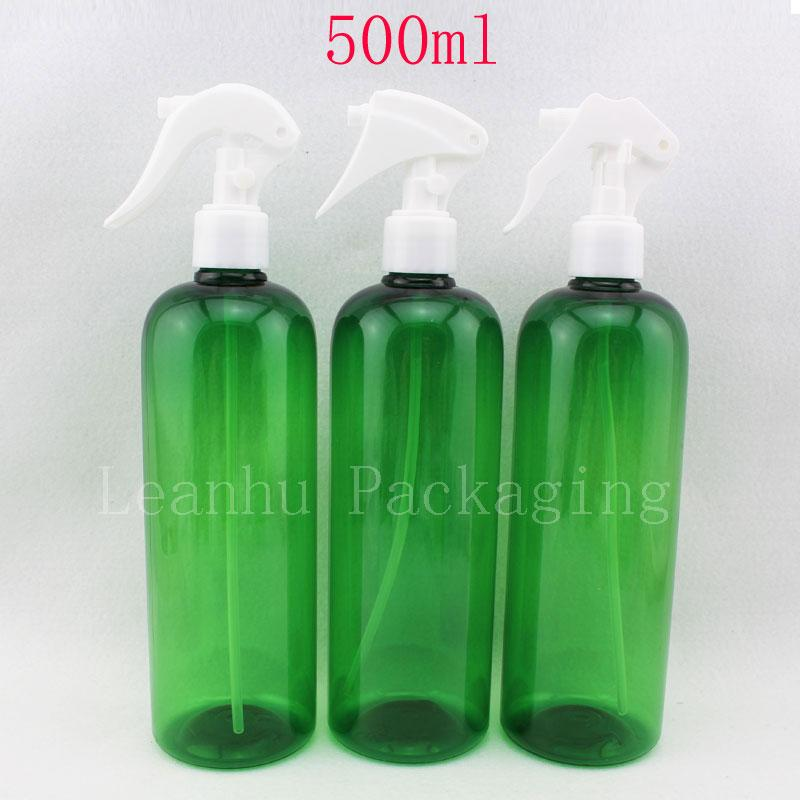 500ml X 12 green color plastic hiar trigger spray pump bottle 500cc blue pump container ,cosmetic packaging , perfume bottle