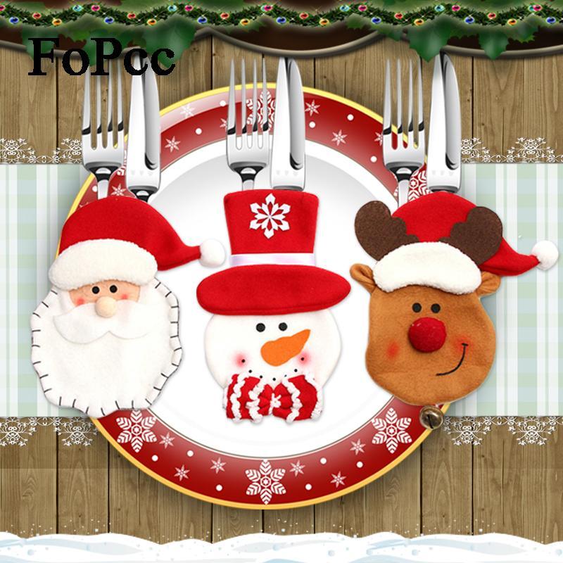 3 UNIDS Navidad Mesa Cena Decoración Cuchillo Folk Bolsa Titular Bolsillos Navidad Año Nuevo Decoraciones de Navidad Para El Hogar Lindo Cubiertos Traje Y18102609