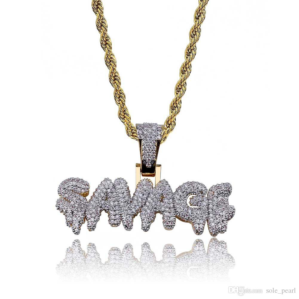mens necklace hip hop jewelry copper Zircon iced out chains Vintage High grade alphabet Pendant necklace fashion jewelry wholesale 2018