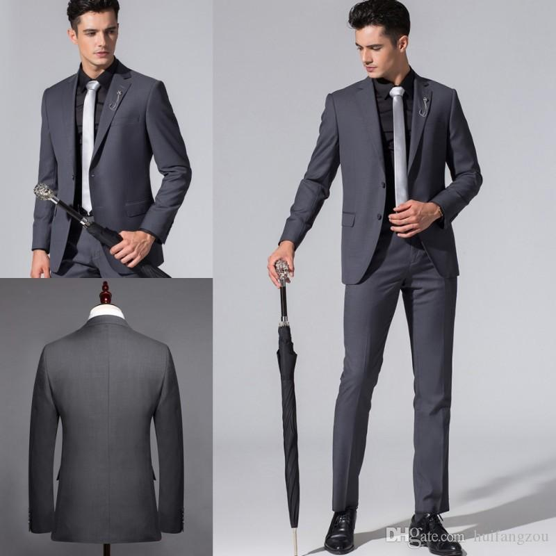 High Quality Men Suits Customized Groom Tuxedos Slim Fit Bridegroom Formal Wear Best Mens Suit For Weddings (Jacket+Pants)