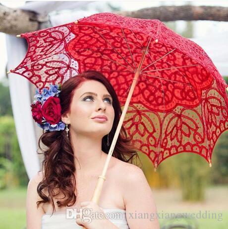 Parasoles de la boda paraguas hechos a mano de encaje Artifull sombrillas nupciales del jardín para novia boda de la dama de honor diámetro 32 pulgadas 16 COLORES