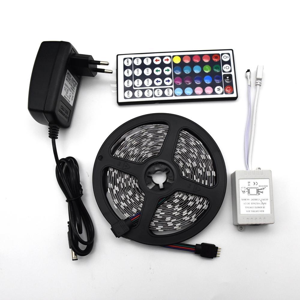 Ruban flexible avec ruban infrarouge 5M 5050 SMD LED Bande étanche RVB LED avec télécommande IR et adaptateur d'alimentation CC 12V Ensemble complet