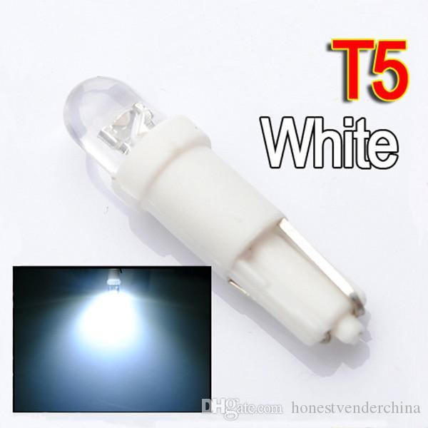 Hot Sale 100pcs/lot T5 37 58 70 1 LED Car Auto Dashboard Gauge Wedge Side Tail Lights Lamp Bulb DC12V Blue White