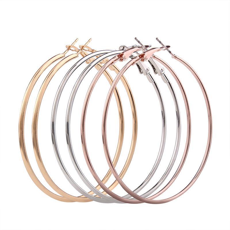 European and American geometric anti allergy big circle three piece C shape earring fashion personality metal Earring