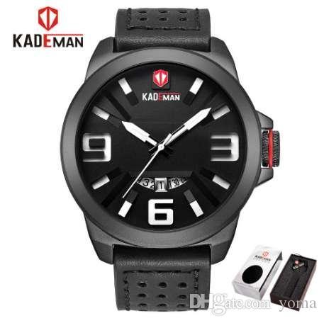 Kademan sports militar dos homens relógio de marca de couro de quartzo homens à prova d 'água assista relógio analógico relógio de pulso relogio masculino