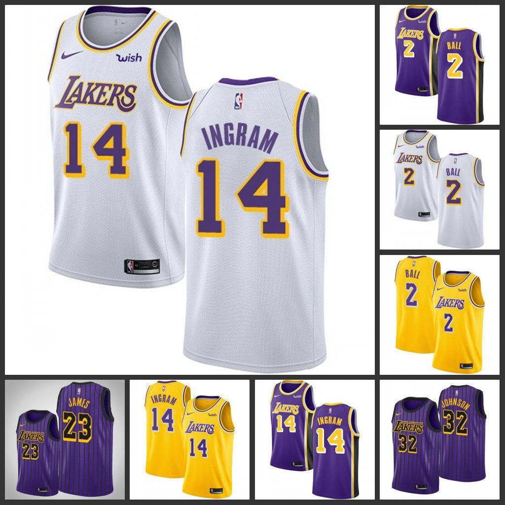 the latest f783d 94451 2018 2018 2019 New Season Purple 23 LeBron James 14 Ingram 2 Ball Jersey  Los Angeles Lakers Mens 32 Johnson Edition Basketball Jersey From  Hotjersey1, ...