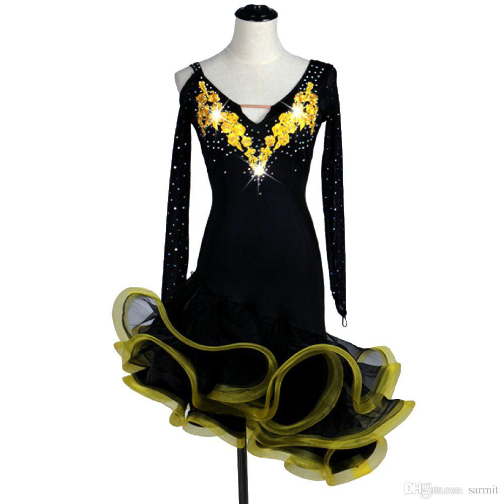 Latin Dance Dress Costumes Women Salsa Tango Dress 4 Colors D007 with Bra Cup Underwear Rhinestones Fluffy Sheer Hem
