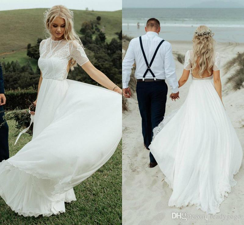 2019 Beach Wedding Dresses Jewel Neck Applique Lace Sexy Boho Wedding Dress Sweep Train Short Sleeves Backless Bride Gowns Country Style