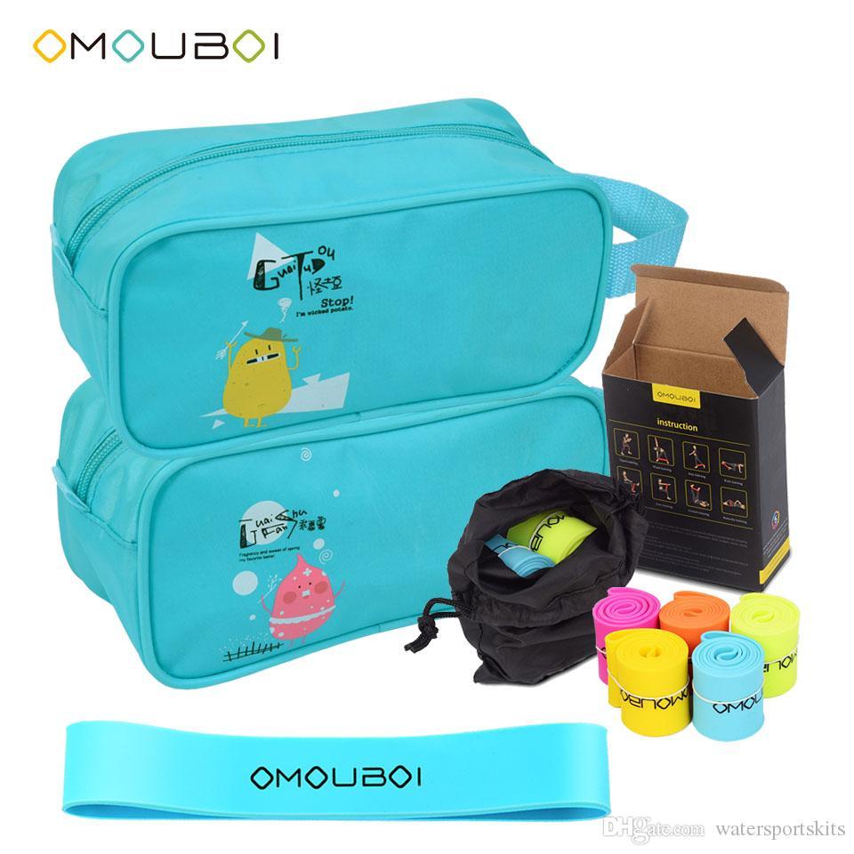 Omouboi Blue Blue Waterproof Sports Sports Zipper Zipper Borsa Pochette con Gomma Elastico colorato Set per palestra Yoga Pilates