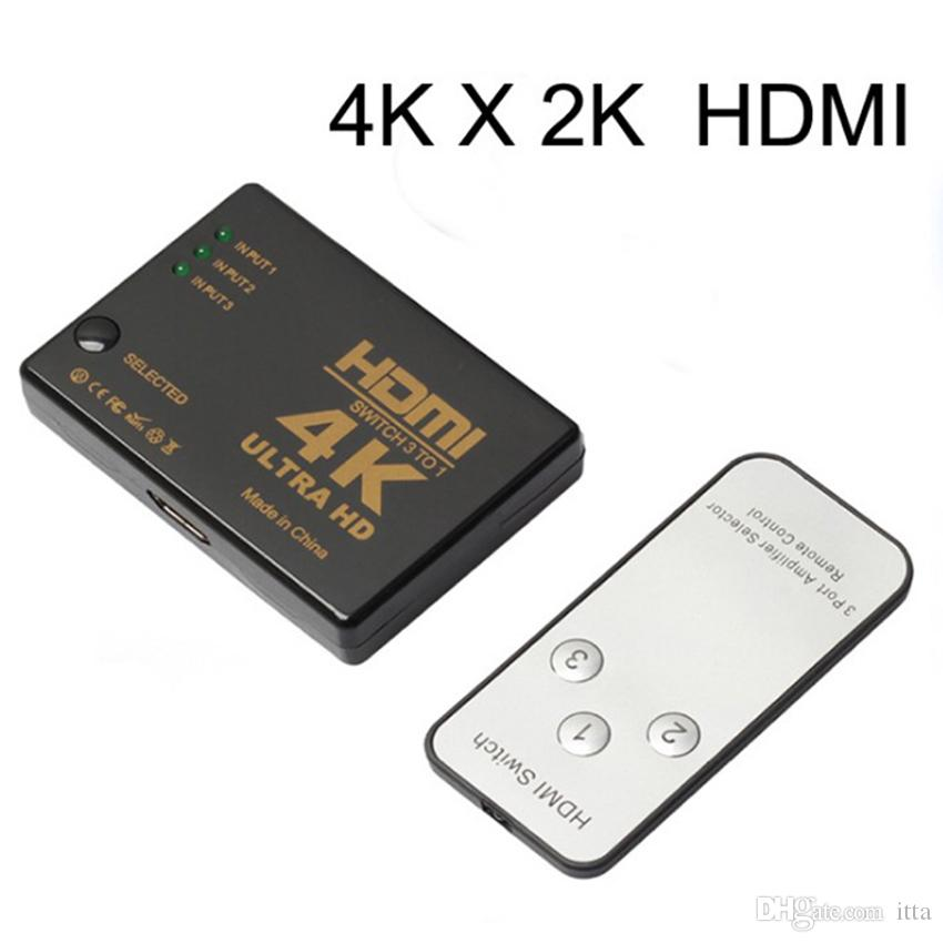 HDMI 4K*2K Full HD 3 Port IN 1 OUT 1080P Switch Switcher Hub with Remote Control Splitter Box for Apple HDTV PS4 DVD