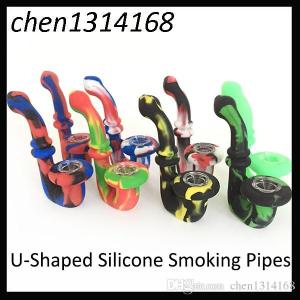Portable w kształcie litery U Footable Silikonowe rury do palenia Suche zioła Nieprzemyślny Perkolator Woda Bong 11.5 cm 0266161-2
