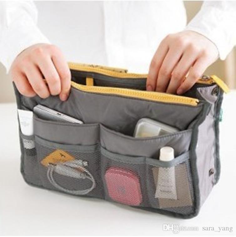 Venda quente saco organizador saco no saco de dupla inserção portátil bolsa bolsa grande forro organizador de armazenamento sacos lin2394