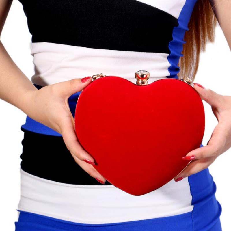 Kalp Şeklinde Elmas Kadın Akşam Çanta Kırmızı / Siyah Zincir Omuz Çanta Günü Kavramalar Akşam Çantalar Parti Düğün Için
