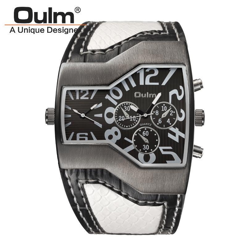 Oulm 1220 시계 남성 스포츠 캐주얼 PU 가죽 손목 시계 볼록 얼굴 와이드 스트랩 장식 작은 다이얼 남성 쿼츠 시계