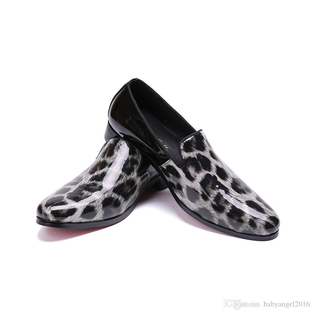 Mens Loafers Leopard Muster geprägte Leder Freizeitschuhe Männer Pointd Toe Slip auf Freizeit Party Karriere Schuhe