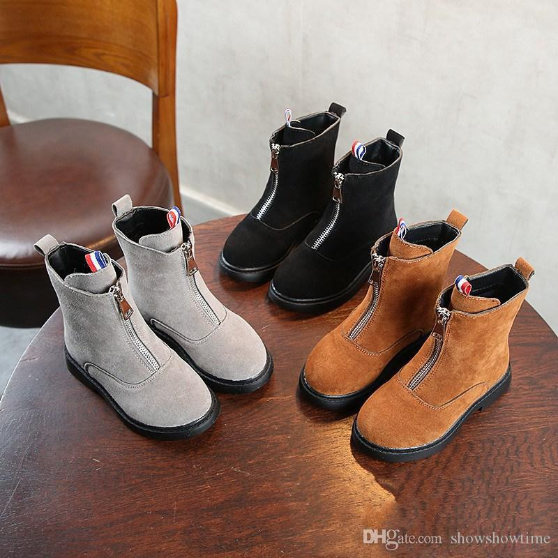 2019 Designer Winter Children Boots Girls Nubuck Leather Warm Shoes Toddler Infant Plush Lining Zip Anti Slippery Kids Boots