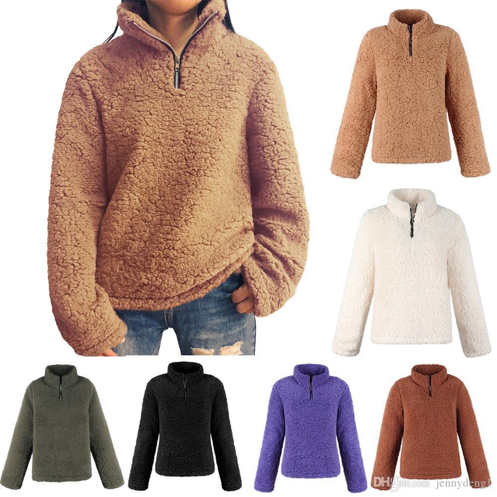 Otoño invierno 2018 Ropa de moda para niñas con cuello de lana suave a granel mayorista ropa para mujer