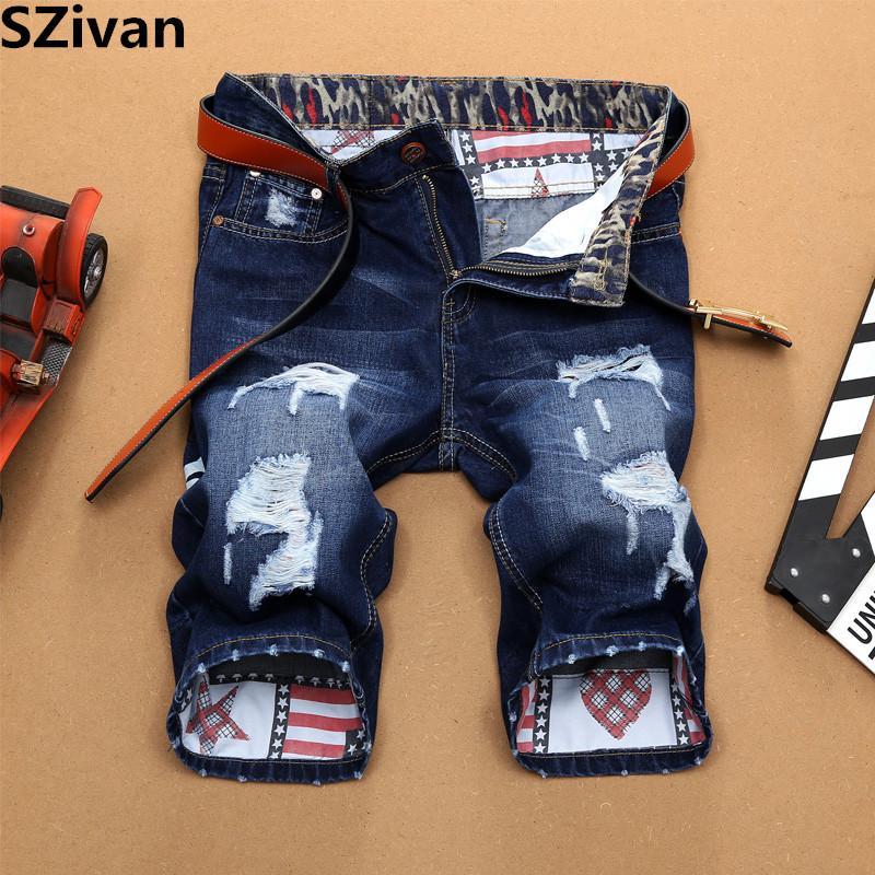 Moda Mens Rasgado Calça Jeans Curta Marca Roupas Bermuda Verão 98% Algodão Shorts Respirável Denim Shorts 146