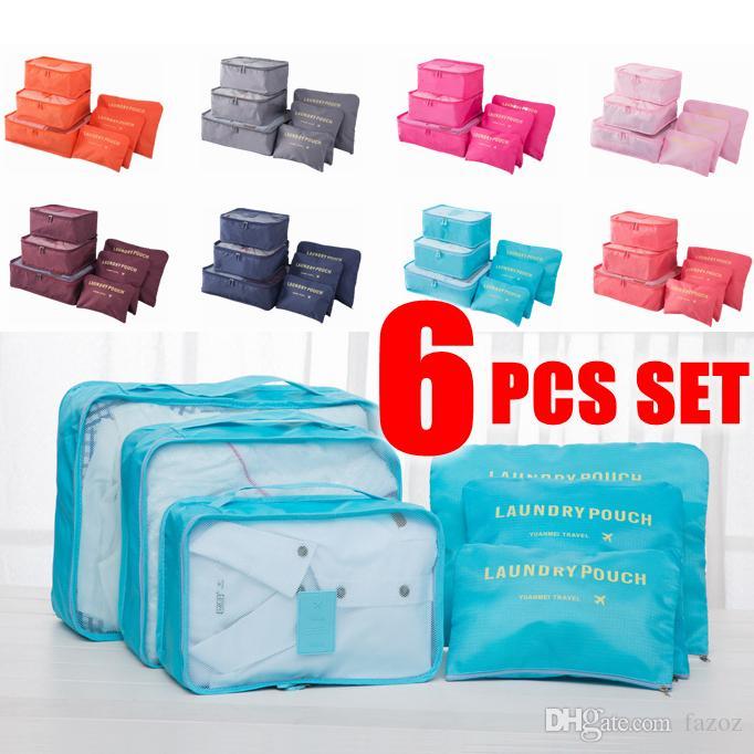6-Piece Cubos De Embalagem De Nylon Malha Organizador Bolsa Conjuntos de Roupas Para Casa Sacos de Armazenamento de Bagagem de Viagem Organizando Set Atacado