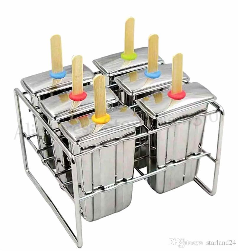 Paslanmaz Çelik Buz Lolly Popsicle Kalıp Buz Pops Kalıp Ev DIY Dondurma 6 adet / Toplu Daha Fazla Seçenek Ücretsiz Kargo