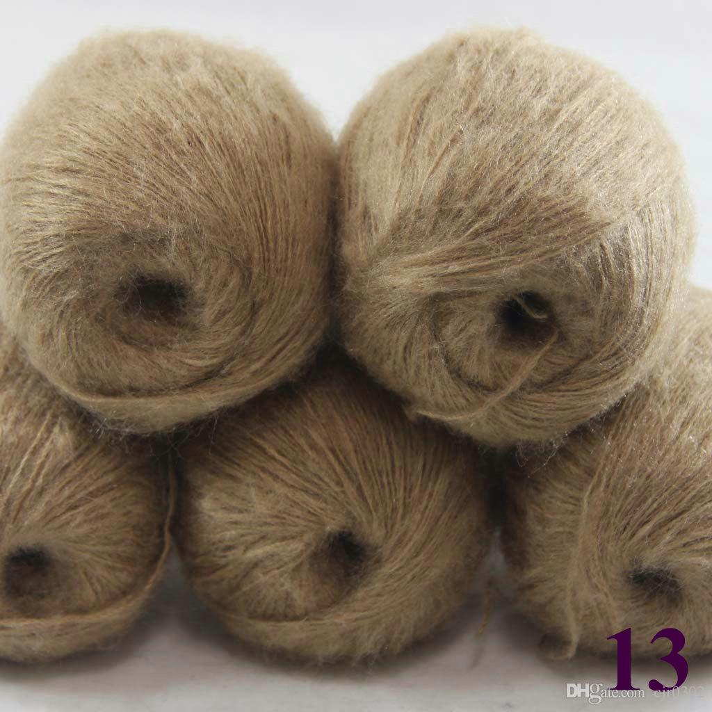 Sale 5ballsX50g Luxurious MOHAIR 50% Cashmere 50% silk hand Yarn Knitting Free shipping multiple colors to choose from Khaki 290-13