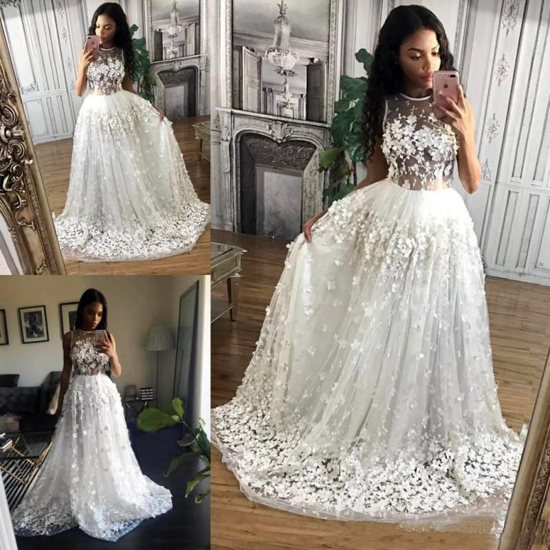Discount 2019 Lace Beach Wedding Dress See Through A Line 3D Appliques  Illusion Top Cape Sleeve Jewel African Country Boho Formal Bridal Gown Non  ...