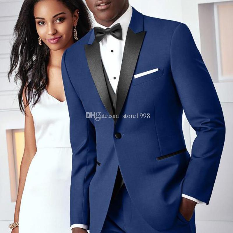 New Style Groomsmen Peak Smoking dello sposo con risvolto Royal Blue Men Abiti da sposa / Prom. Best Man Blazer (Jacket + Pants + Vest + Tie) A274