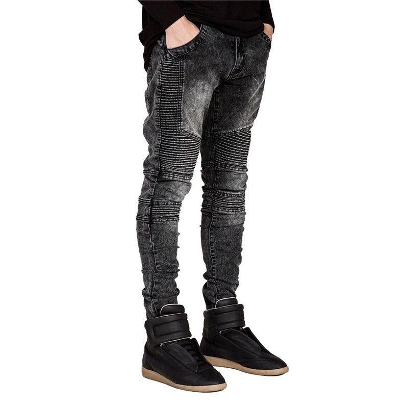 Jeans da uomo biker strappati denim slim fit pantaloni jean piega designer jeans aderenti hip hop con pantaloni da uomo dropshipping S1012