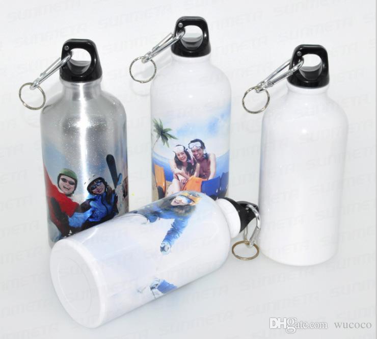 500ml bianco / argento Vuoto bottiglia d'acqua Sublimazione pressa di calore sport bottiglia personalizzata il tuo design da sublimazione macchina 50 pezzi / pacco