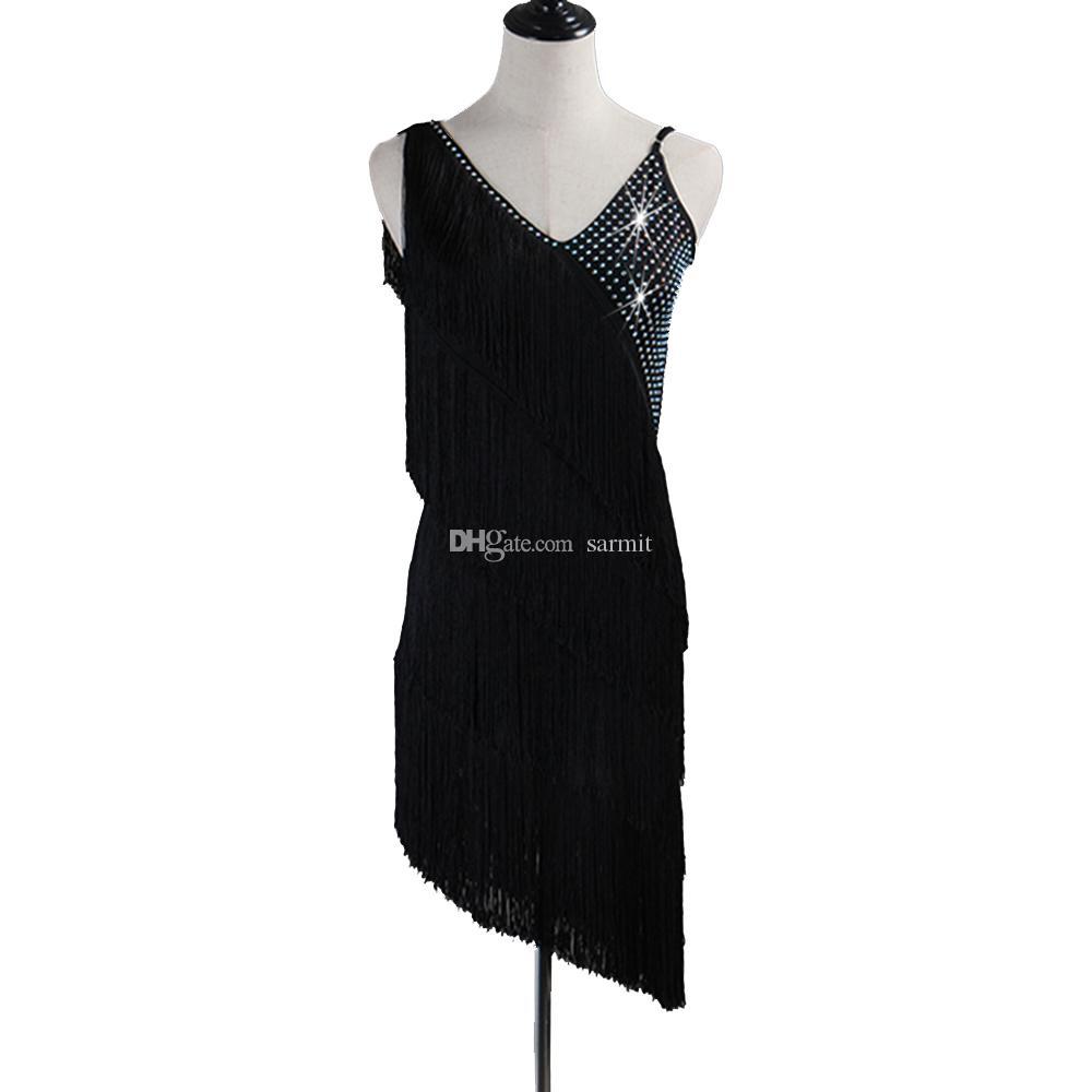 Großhandel Kundenspezifische Quasten Latin Dance Kleid Frauen Mädchen Tango  Salsa Fransen Kleid D17 Schwarz Mit Shinning Strass Von Sarmit, 17,17 €