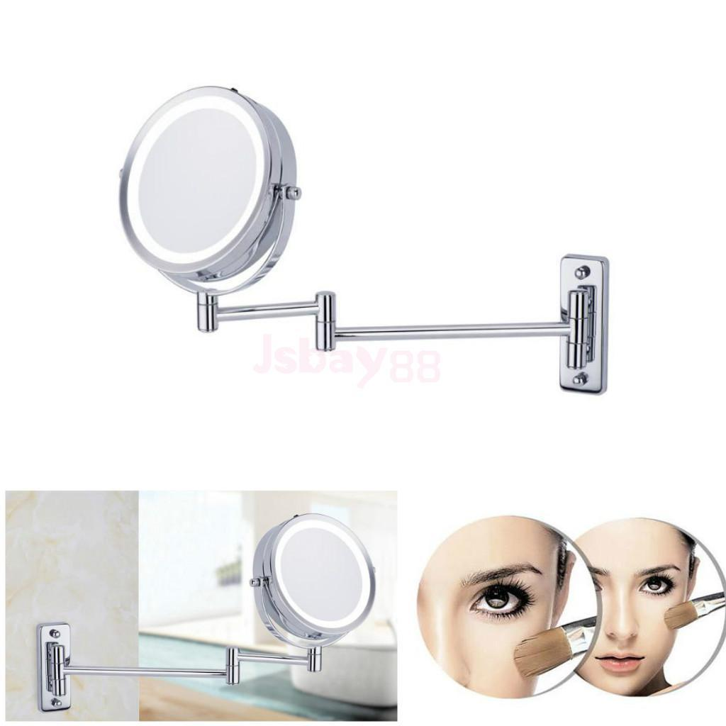 Espejo de vanidad de montaje en la pared giratorio de dos lados LED iluminado 5x Ampliación del brazo de extensión para mostrador de baño en casa Maquillaje de afeitar