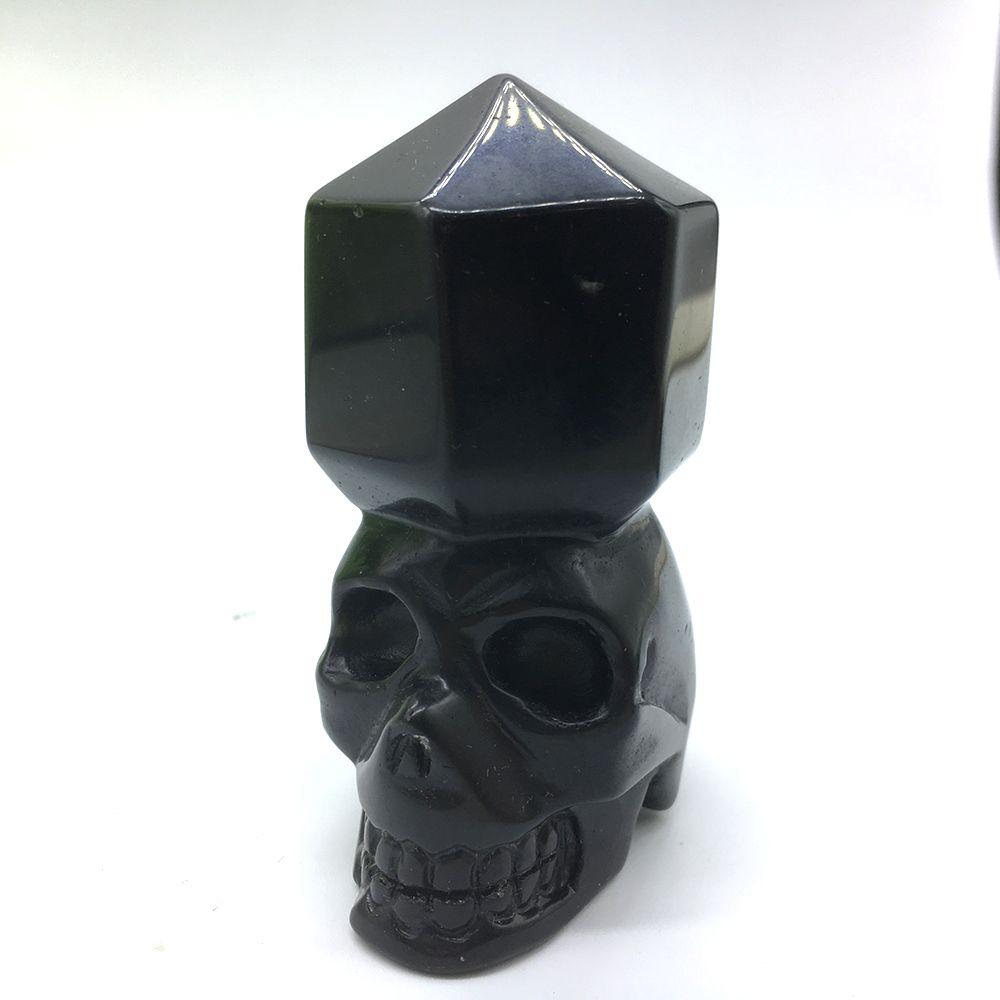 """DingSheng 2.5 """"Narin Doğal Siyah Obsidian Kristal Kafatası Totem Heykelcik Şifa Kristaller Mineraller El Oyma Ev Dekorasyon Için"""