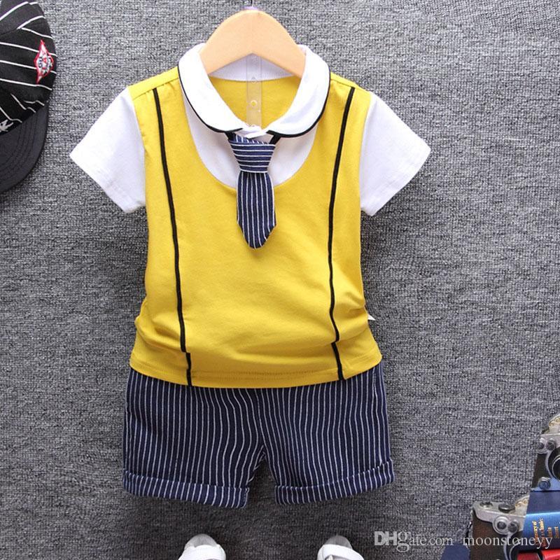 Miúdos da criança Bebé conjunto de roupas infantis roupas 2 pcs camisa conjuntos polo + shorts t 2018 de algodão de verão tops de manga curta