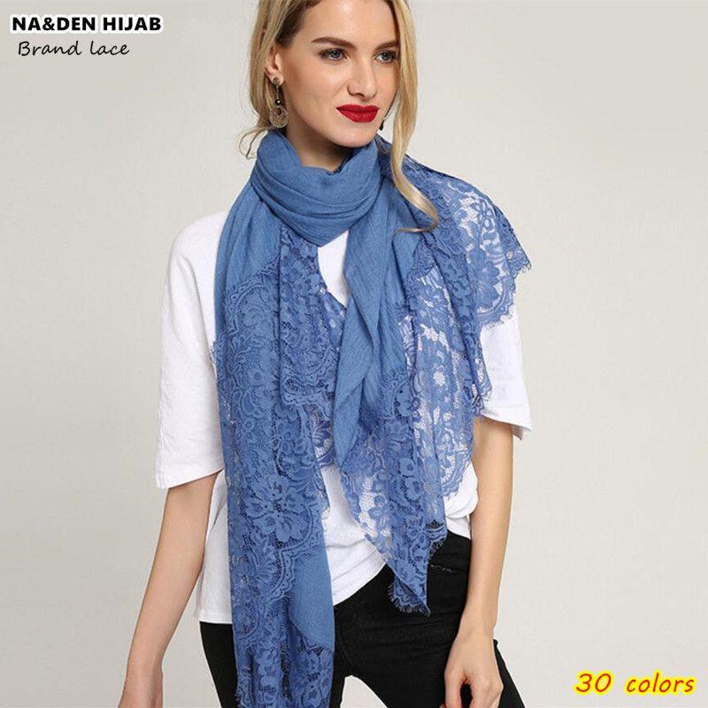 Women Fashion Lace Flower Muslim Hijab Shawls Long Scarf Headscarves Wrap