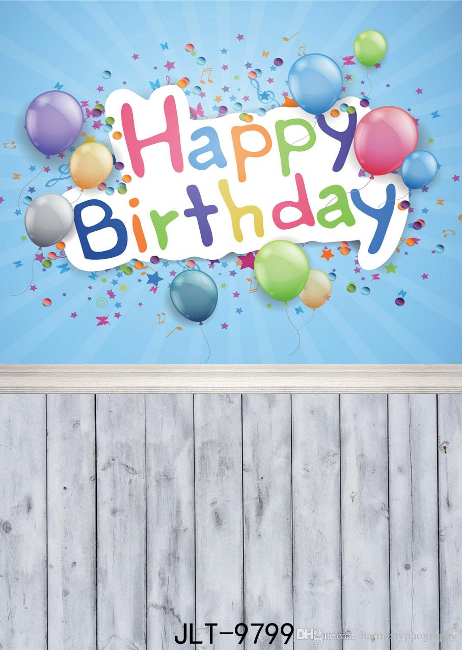 дети день рождения фотографии фона красочные воздушные шары деревянный пол фото фон первый день рождения подгоняет винил ткань 3d