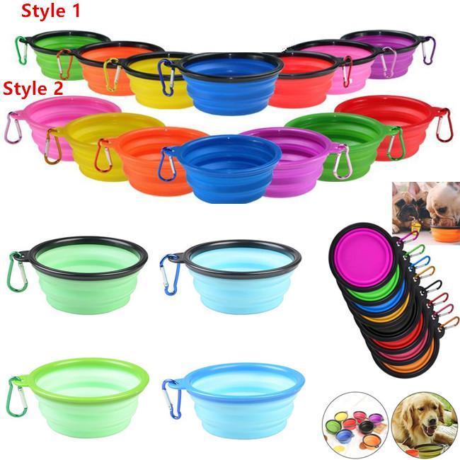 Tazón de fuente plegable del perro del silicón Plato de taza extensible para el alimento para gatos del animal doméstico Alimentación del agua Cuenco de agua portátil portátil del viaje con el mosquetón
